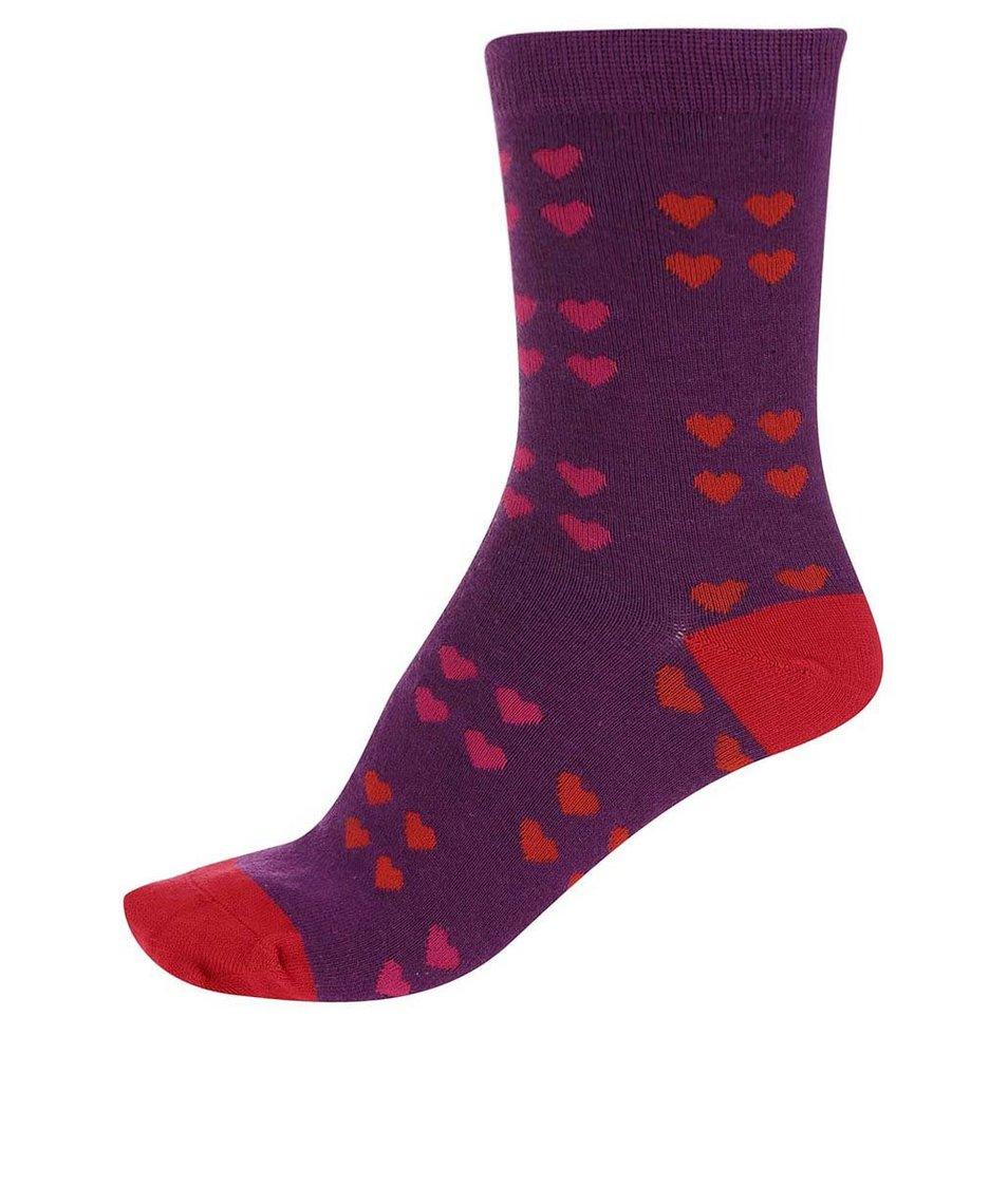 Fialové dámské bambusové ponožky se srdíčky Braintree Melrose