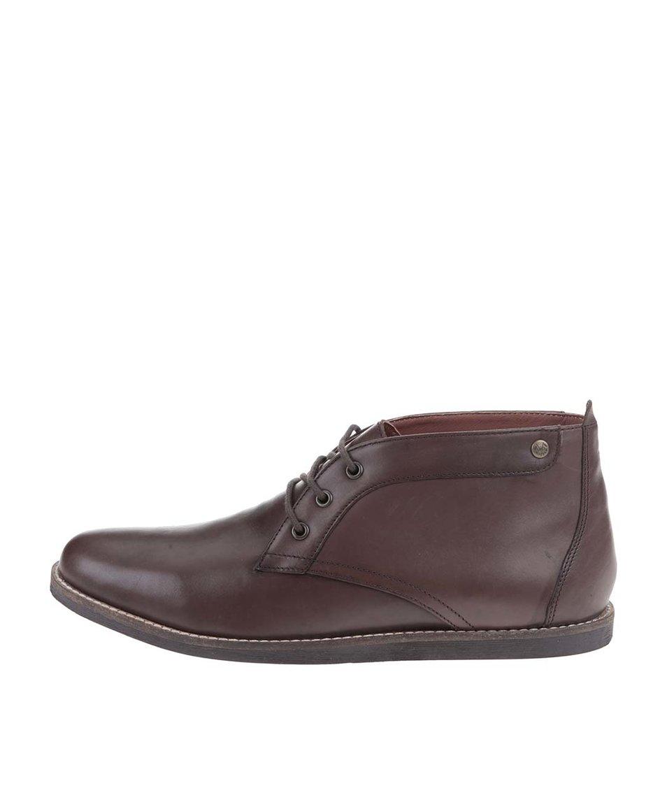 Hnědé kožené kotníkové boty Frank Wright Gee