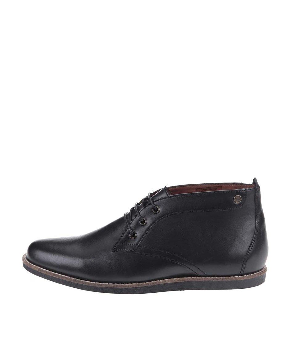 Černé kožené kotníkové boty Frank Wright Gee