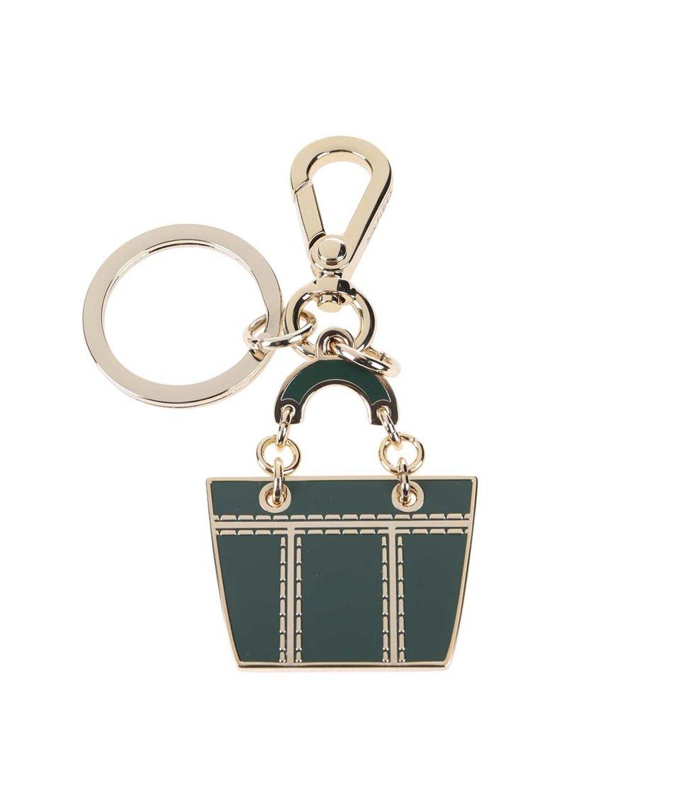 Tmavě zelená dámská klíčenka ve tvaru shopperu Tommy Hilfiger Signature