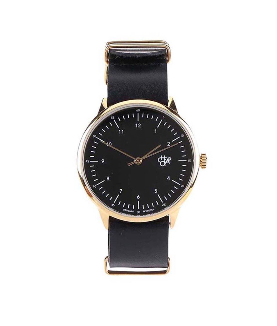 Černé unisex hodinky s koženým páskem Cheapo Harold Gold