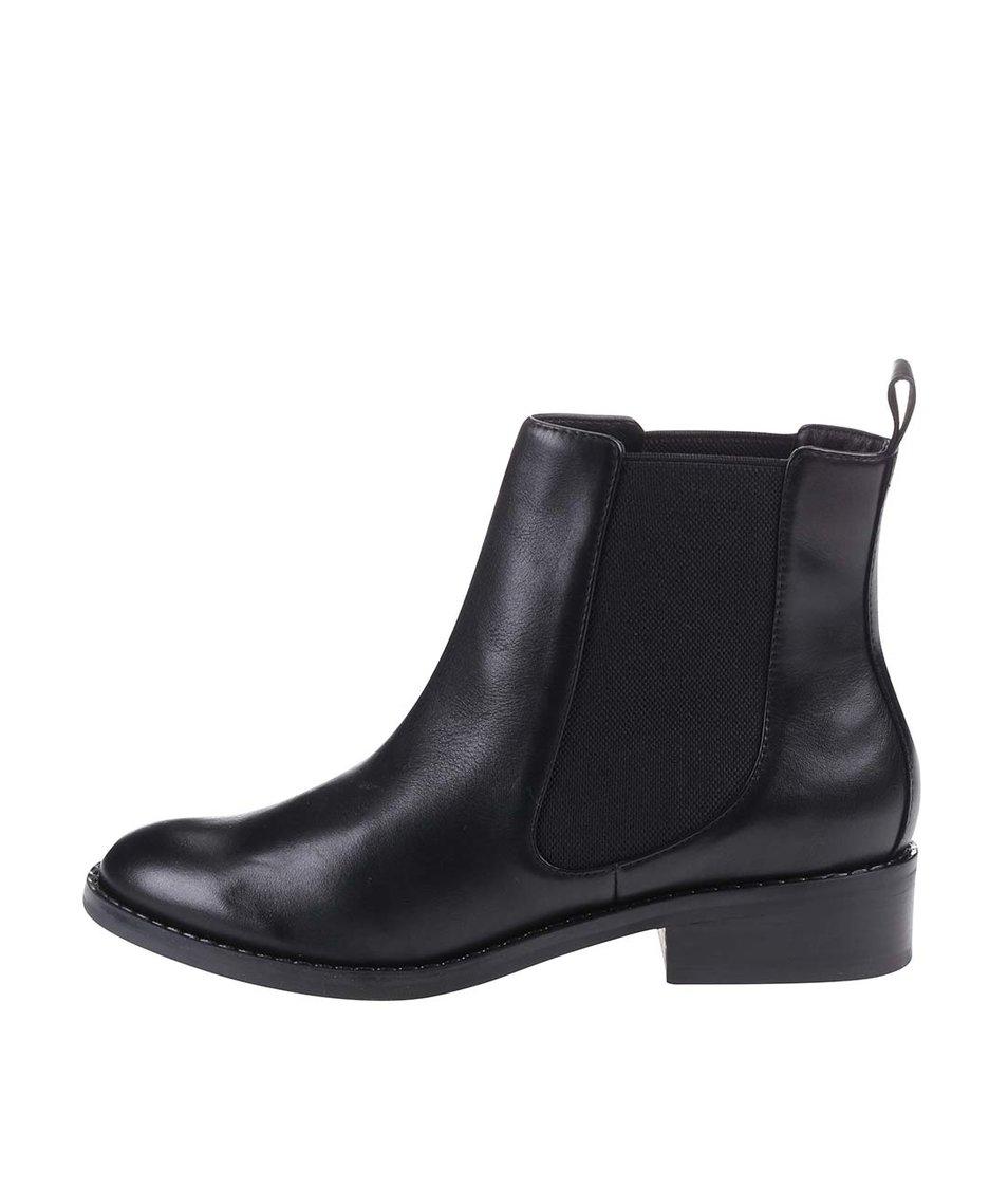 Černé dámské kožené boty ALDO Cydnee