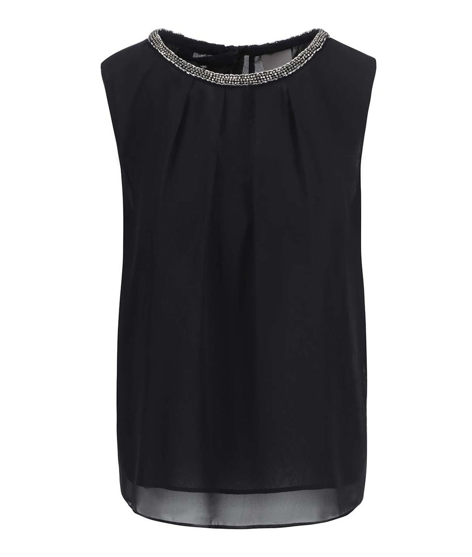 Černý top s ozdobným dekoltem Vero Moda Simone