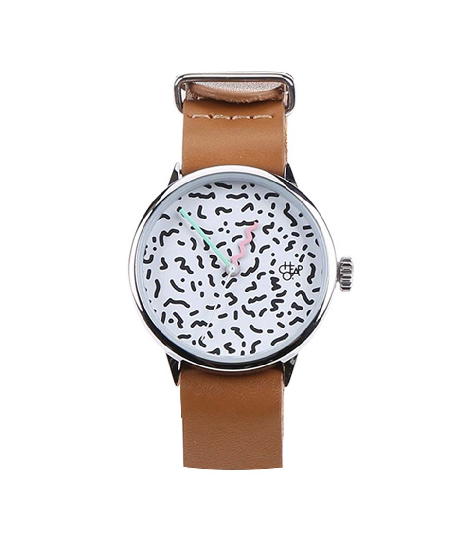 Hnědé dámské hodinky s koženým páskem Cheapo Harold Mini Memphis