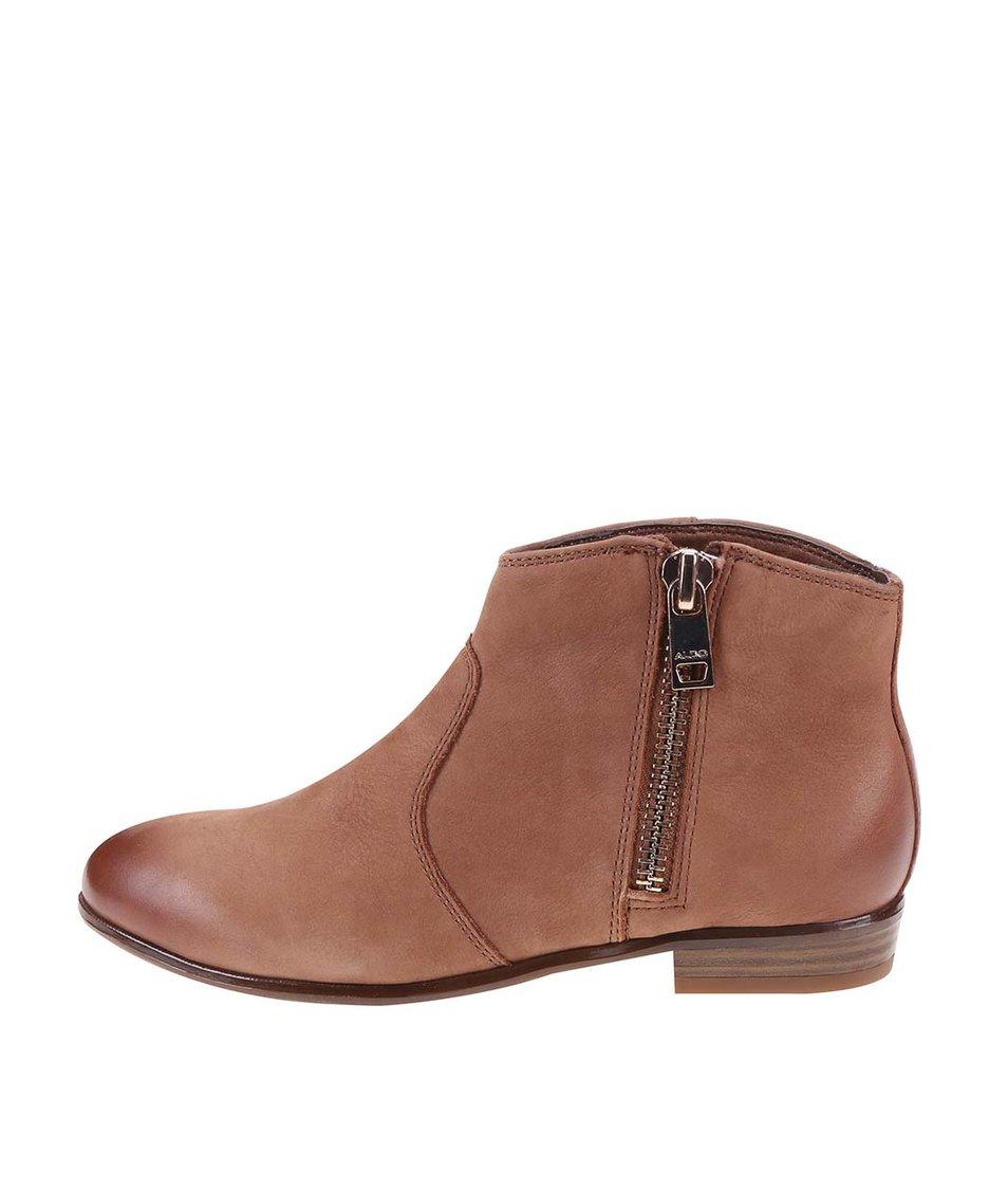 Hnědé kožené kotníkové boty ALDO Allisson