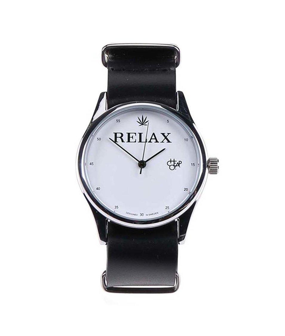 Černé unisex hodinky s koženým páskem Cheapo Relax