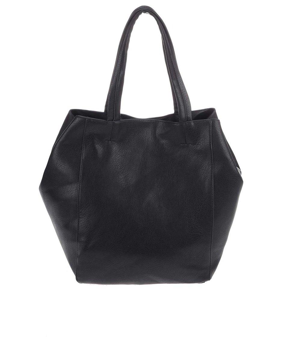 Černý koženkový shopper Vero Moda Sille