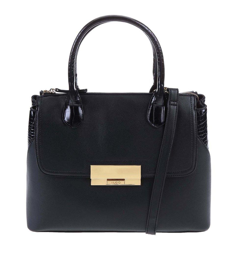 Černá větší kabelka se sponou ve zlaté barvě ALDO Coontie