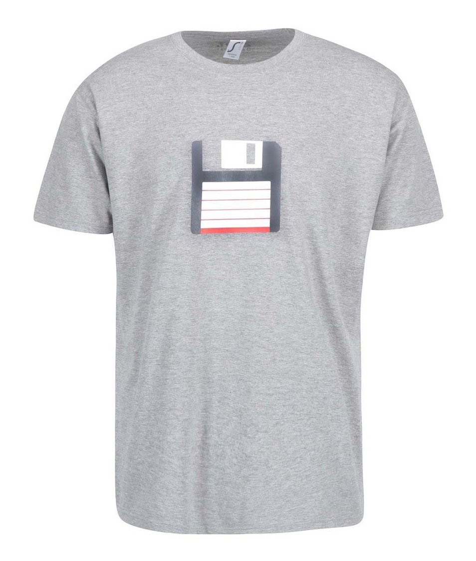 Šedé pánské triko ZOOT Originál Disketa