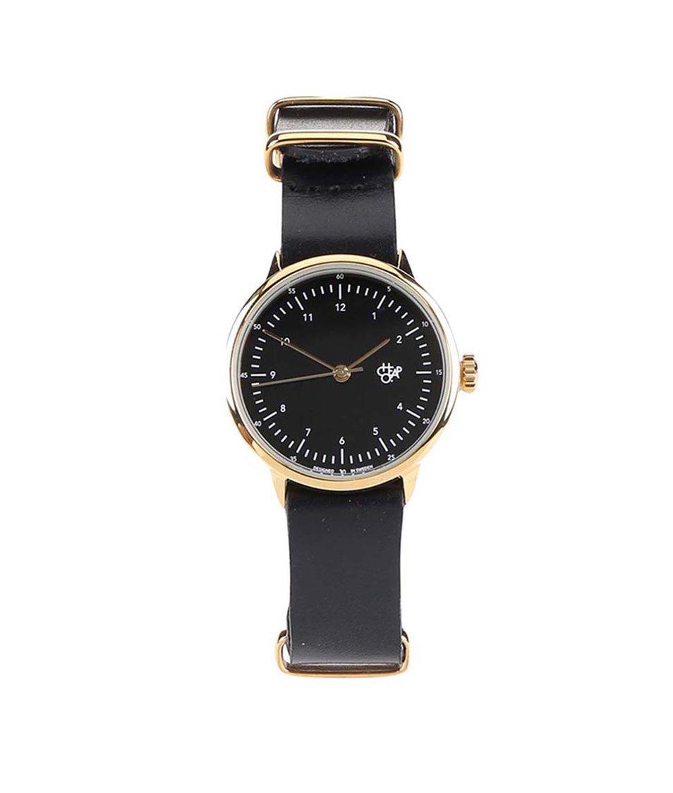 Černé dámské hodinky s koženým páskem Cheapo Harold Mini Gold