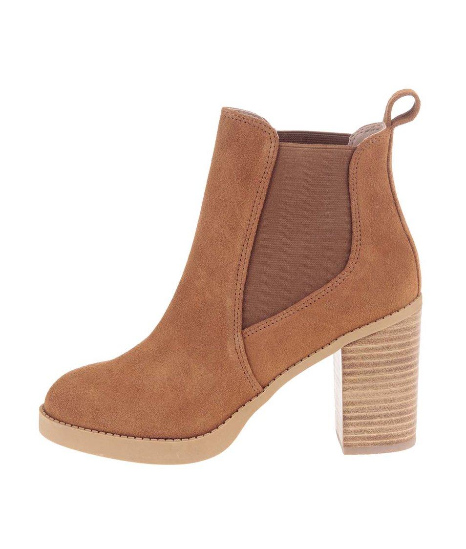 Hnědé kotníkové kožené boty na podpatku Dorothy Perkins