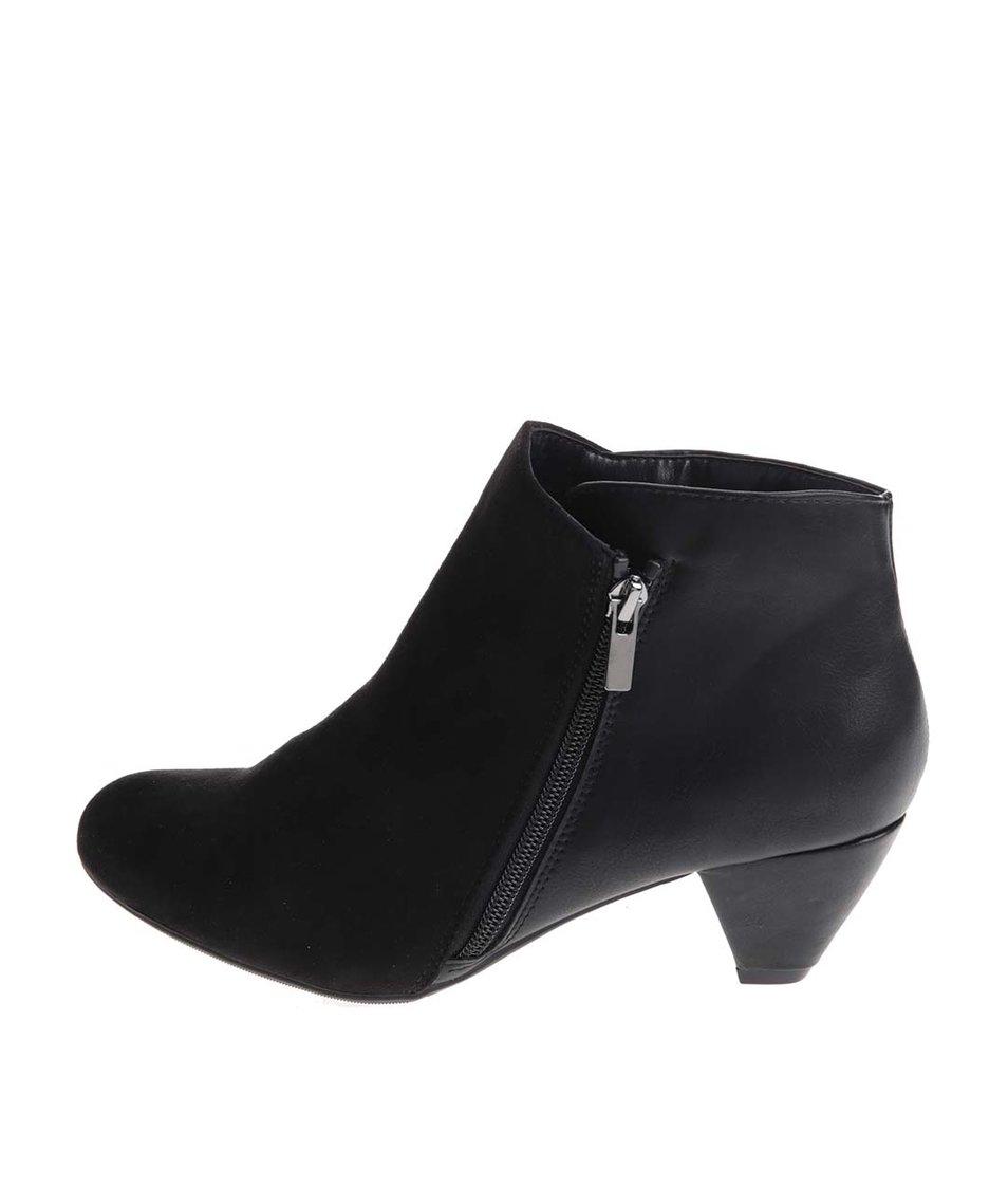 Černé kotníkové boty na nízkém podpatku Dorothy Perkins