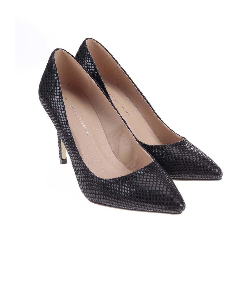 Černé lodičky s lesklým vzorem Dorothy Perkins - Akční cena ... c9a7783f33