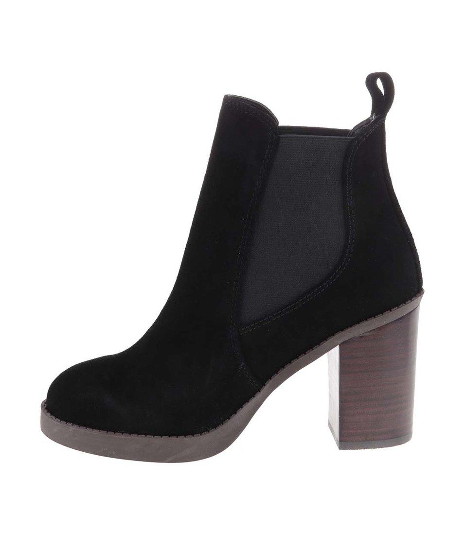 Černé kotníkové kožené boty na podpatku Dorothy Perkins
