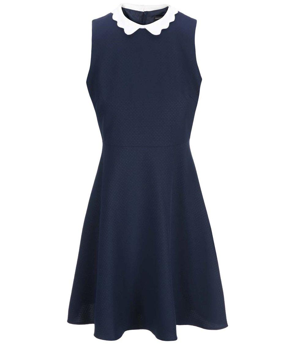 Tmavě modré šaty s krémovým límečkem Dorothy Perkins