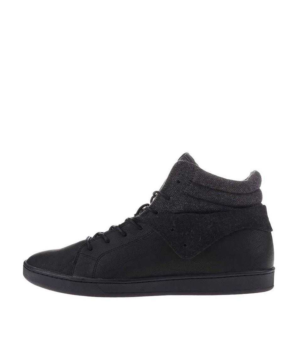 Černé pánské kožené kotníkové boty ALDO Tancredi