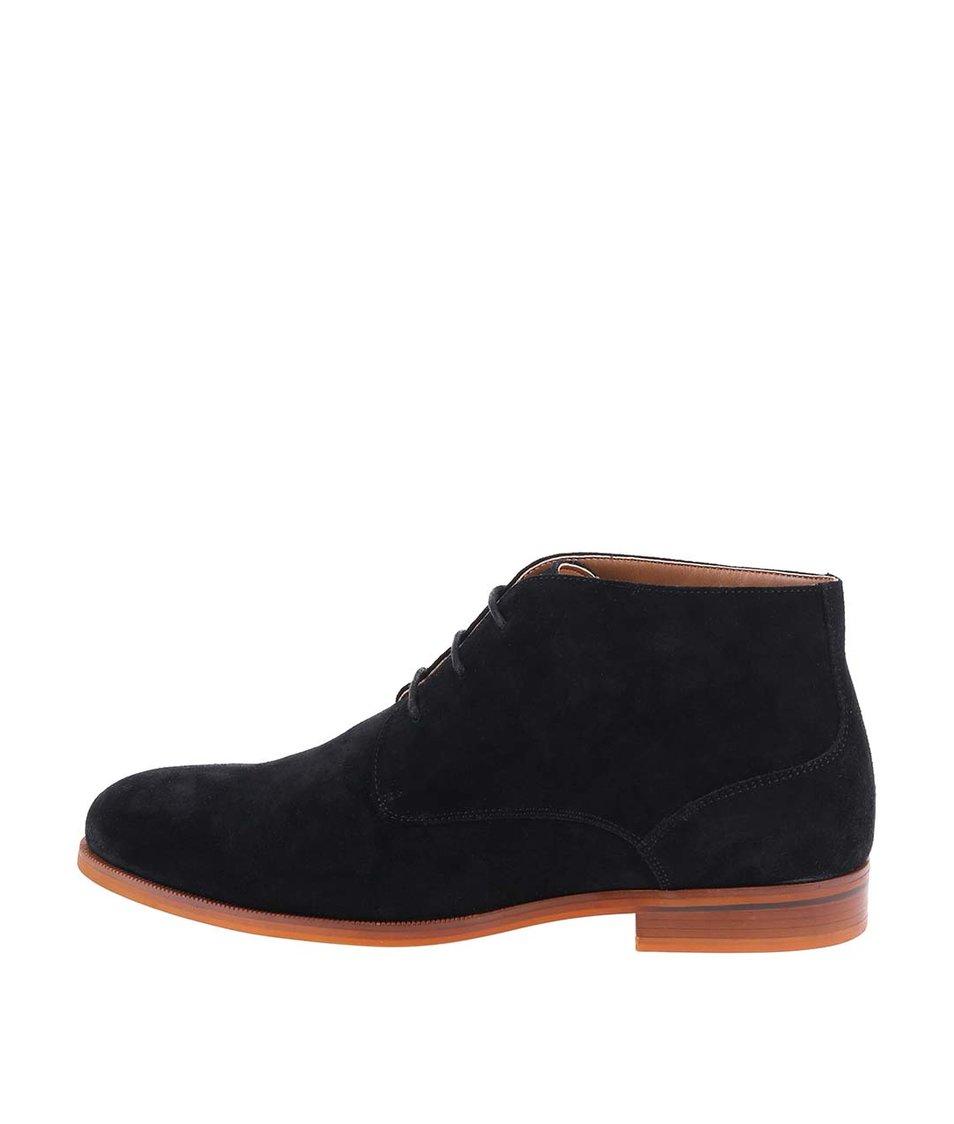 Černé pánské kožené kotníkové boty ALDO Adoima