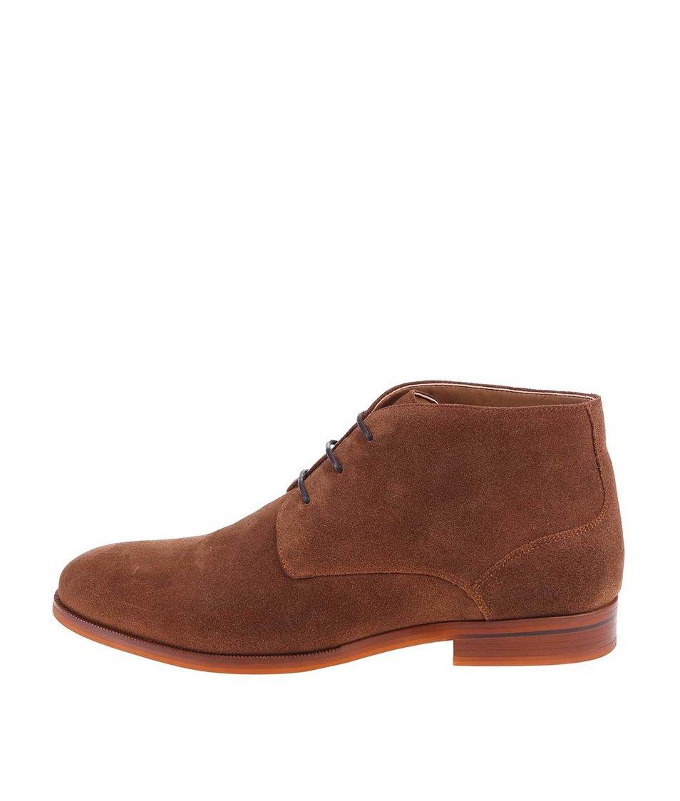 Hnědé pánské kožené kotníkové boty ALDO Adoima