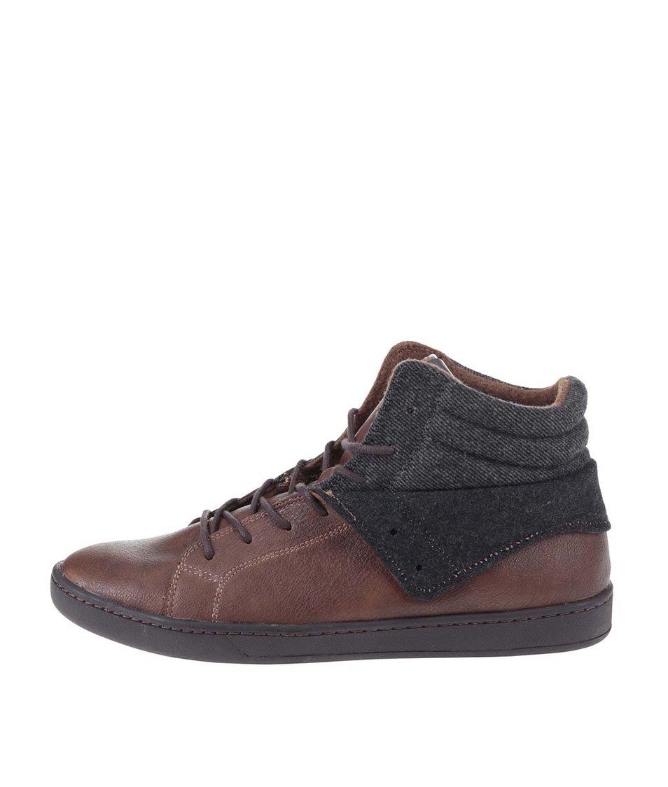 Hnědé pánské kožené kotníkové boty ALDO Tancredi