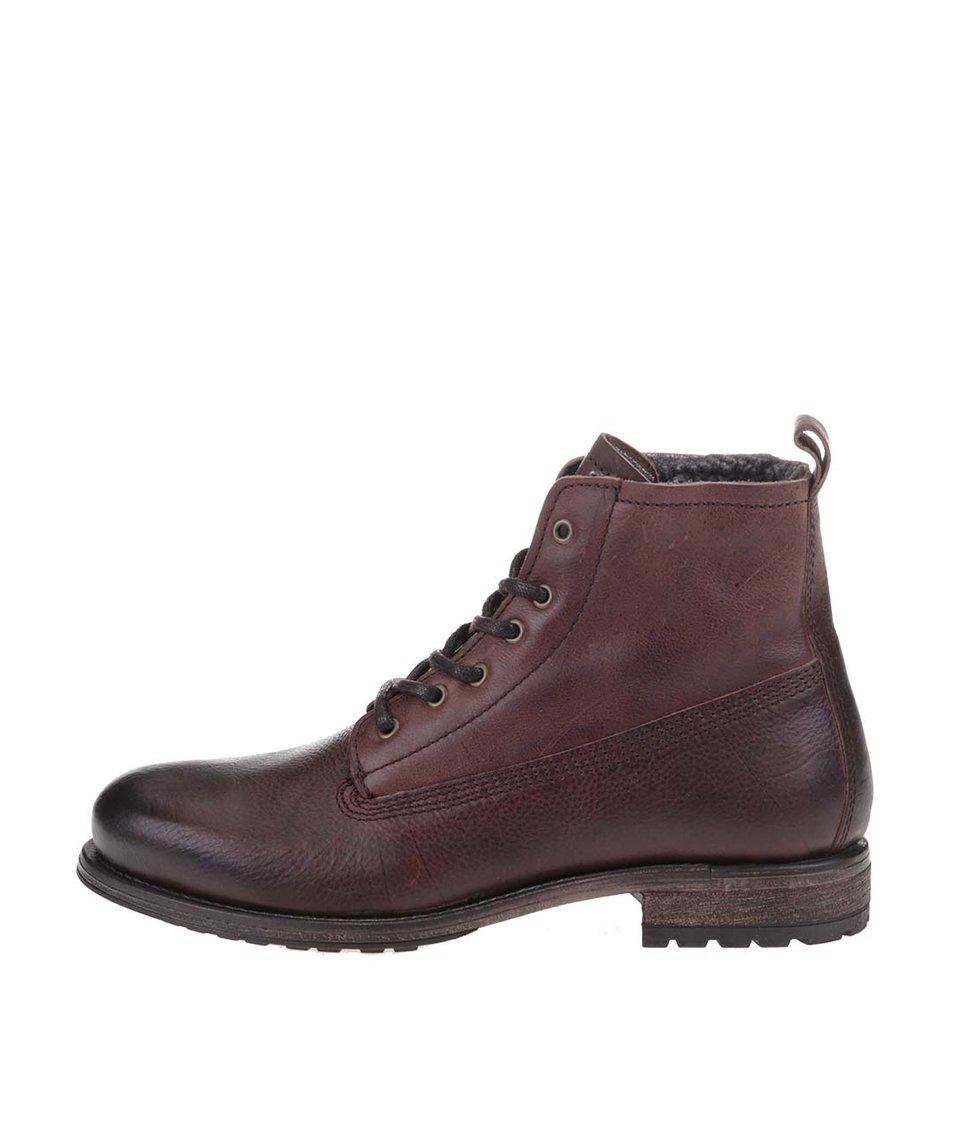 Hnědé kožené kotníkové boty Selected Ben
