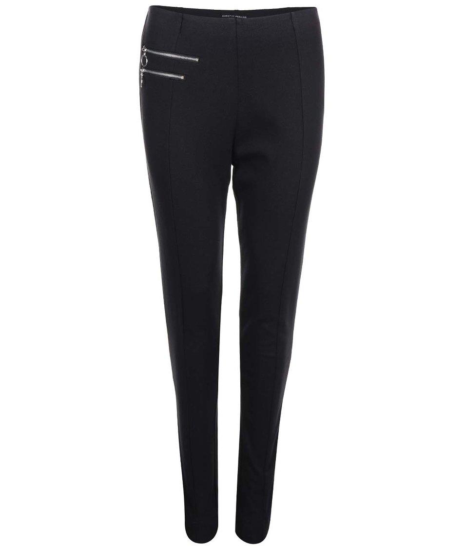 Černé kalhoty do pasu s ozdobnými zipy Dorothy Perkins