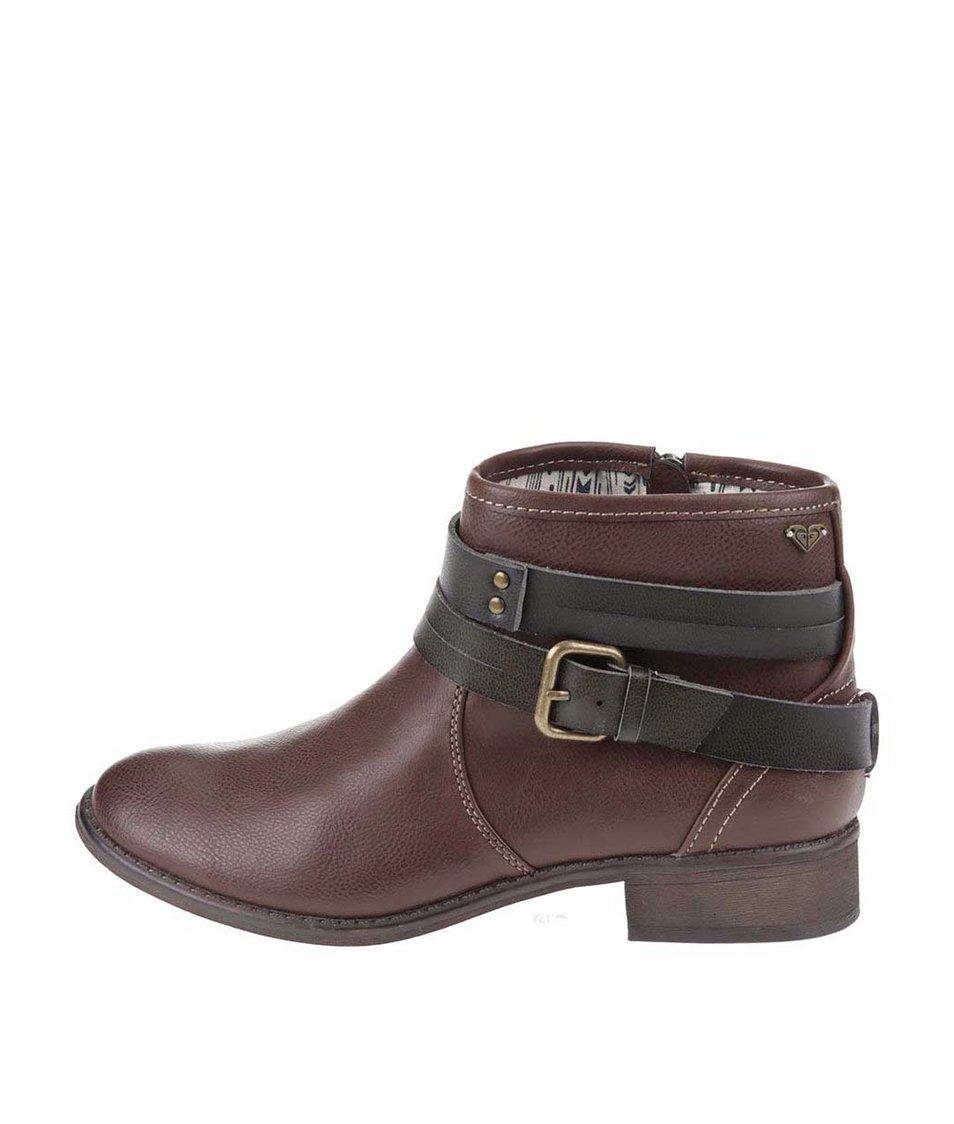 Hnědé kotníkové boty s přezkou Roxy Jensen