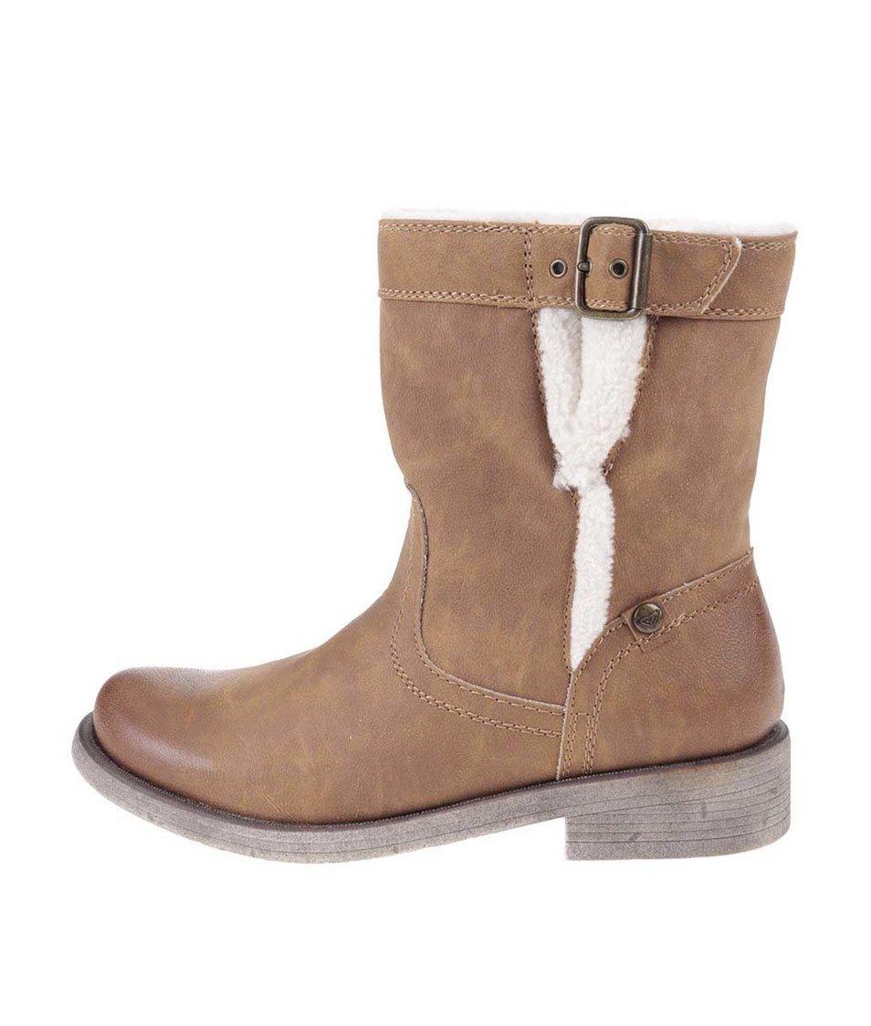 Hnědé kotníkové boty s umělým kožíškem Roxy Northward