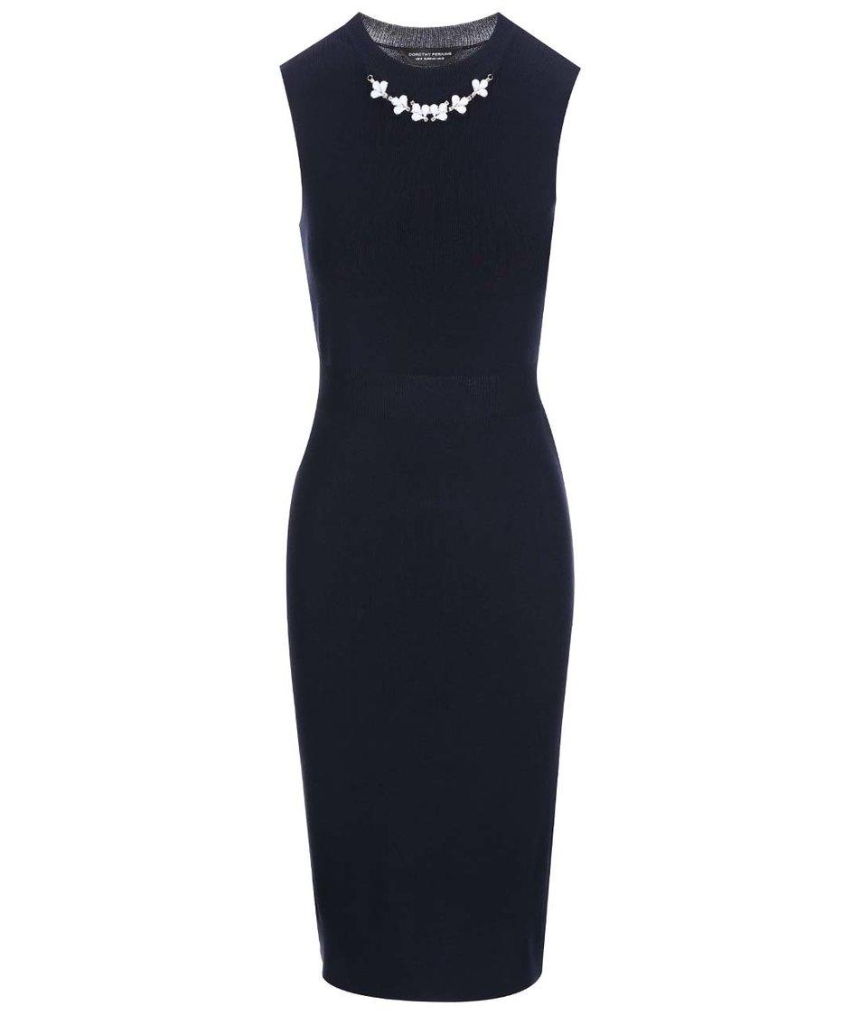 Tmavě modré šaty s náhrdelníkovou aplikací Dorothy Perkins