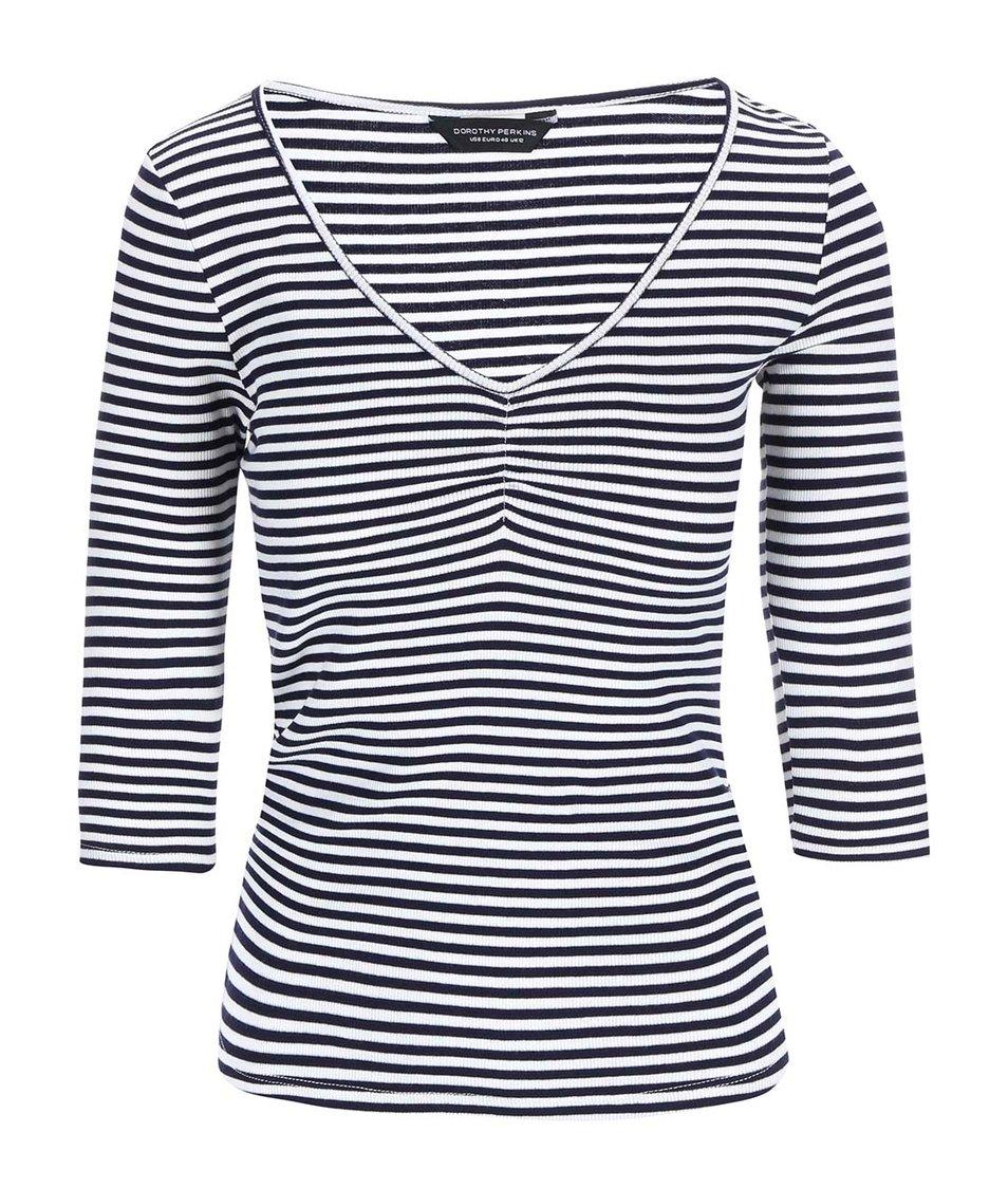 Bílo-modré pruhované tričko s 3/4 rukávem Dorothy Perkins