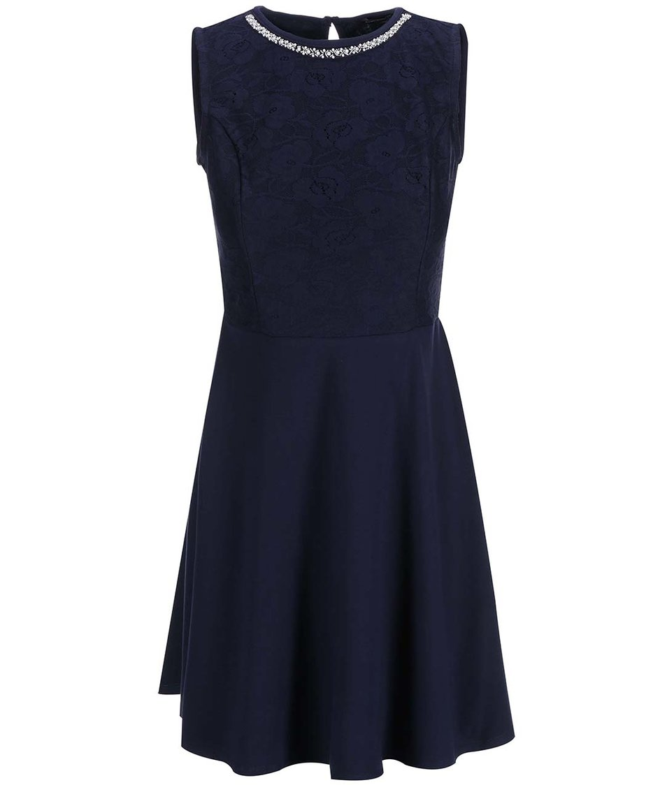 Tmavě modré šaty s krajkovým topem Dorothy Perkins