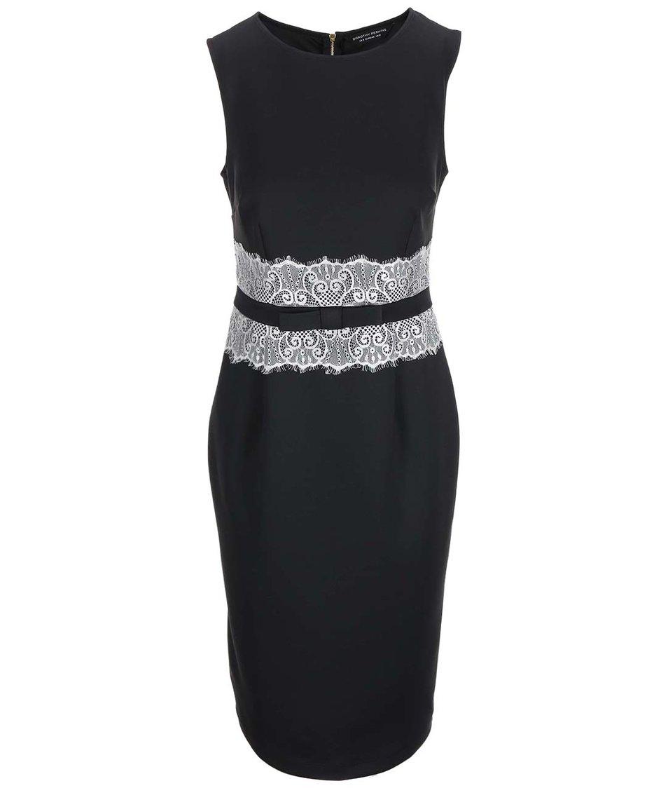 Černé šaty s krajkou v pase Dorothy Perkins