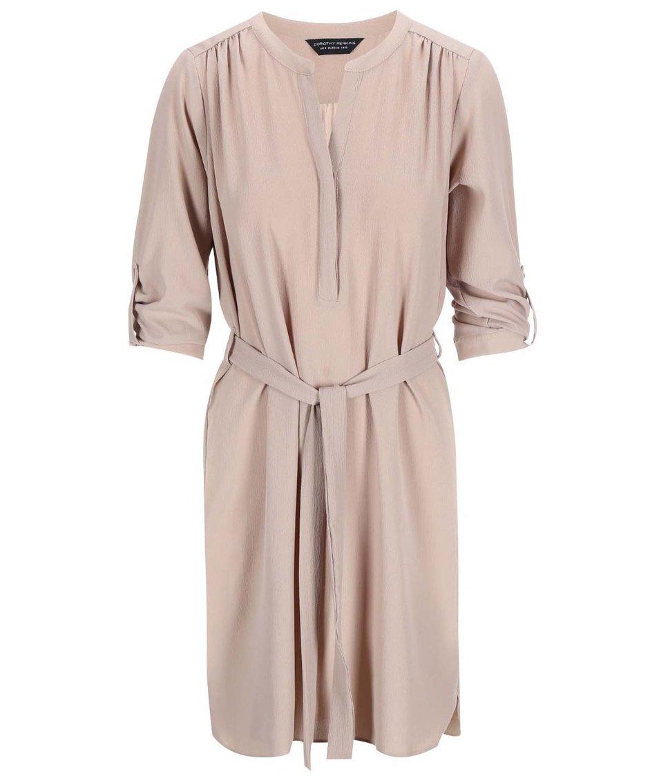 Béžové šaty s 3/4 rukávy Dorothy Perkins