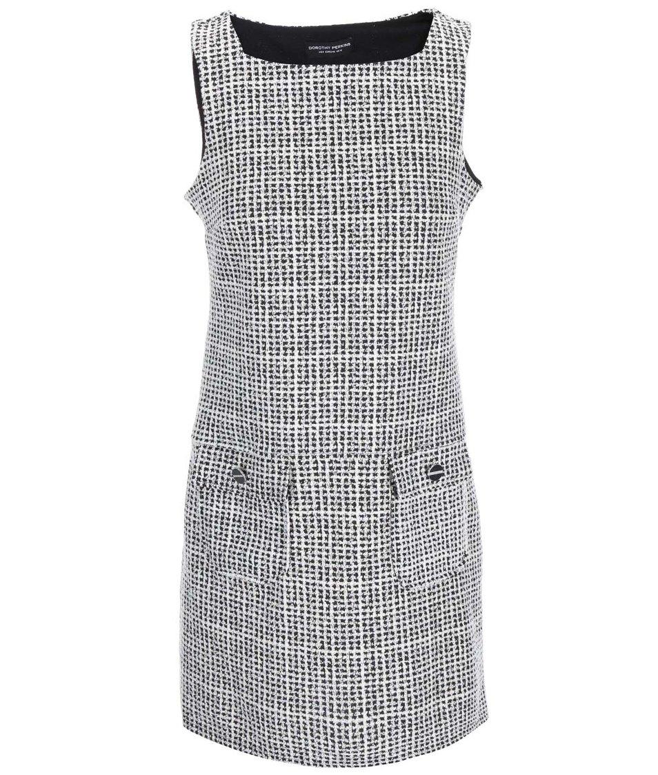 Černo-bílé vzorované šaty s kapsami Dorothy Perkins