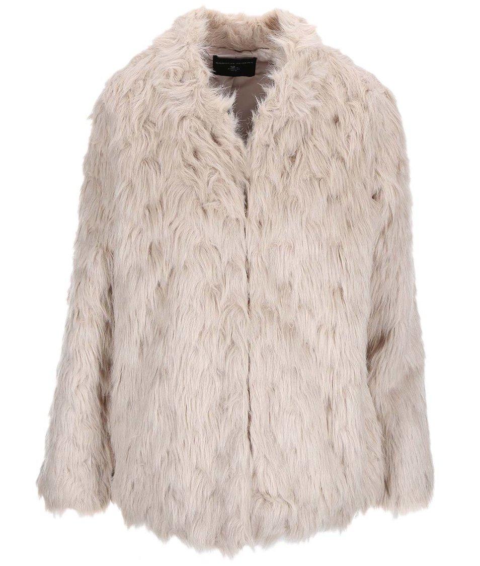 Béžový kabát z umělé kožešiny Dorothy Perkins
