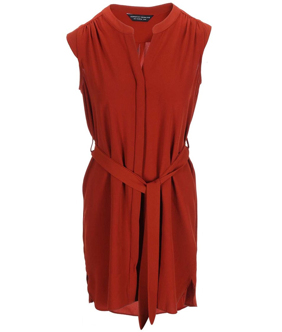 Cihlové šaty bez rukávů Dorothy Perkins