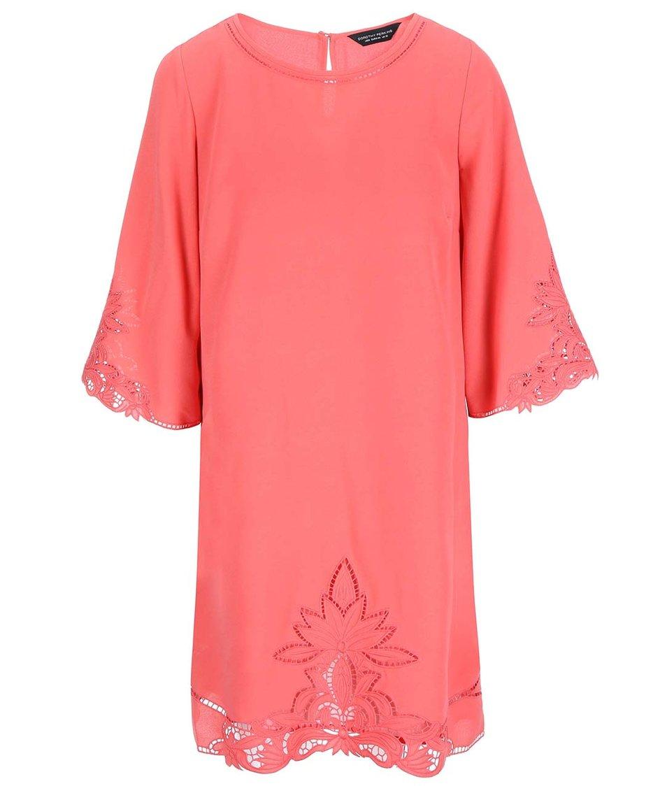 Korálové šaty s výšivkou Dorothy Perkins