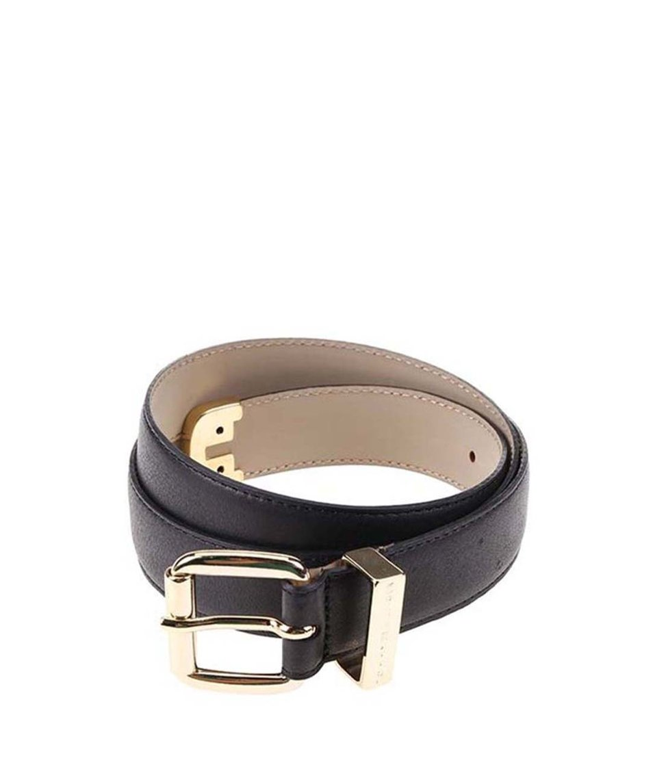 Černý dámský kožený pásek Tommy Hilfiger Melinda