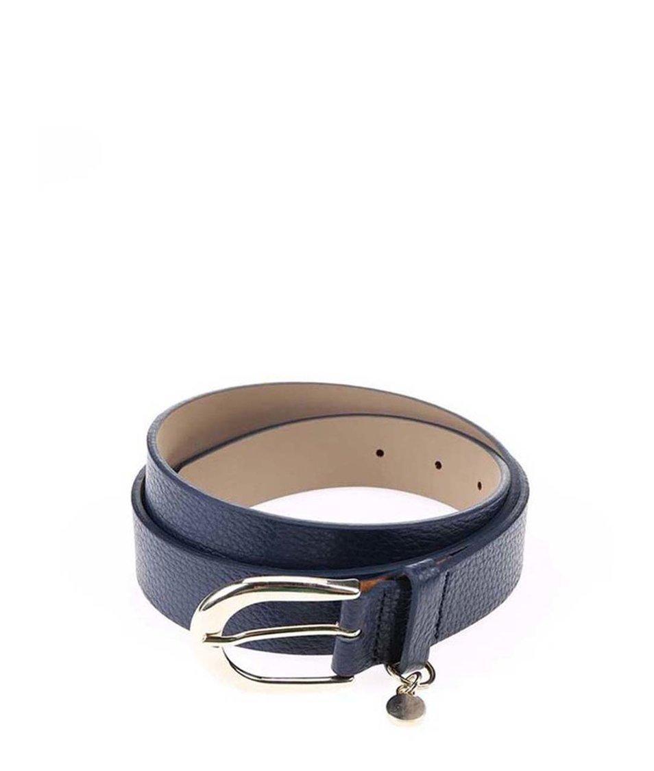 Tmavě modrý dámský kožený pásek Tommy Hilfiger Signature