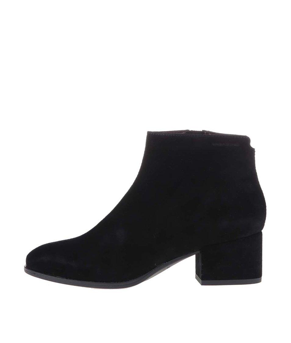 Černé kožené kotníkové boty Vagabond Daisy