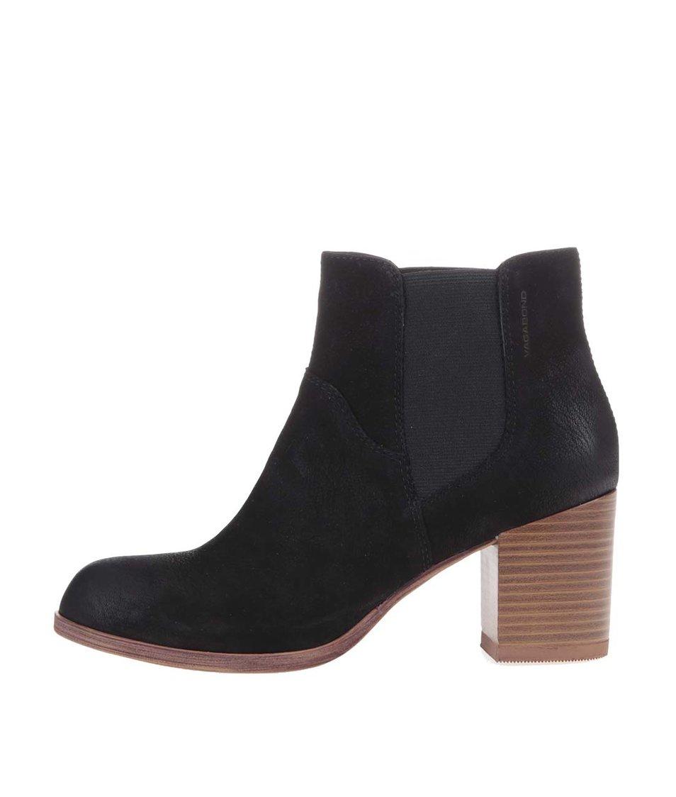 Černé kožené kotníkové boty Vagabond Anna