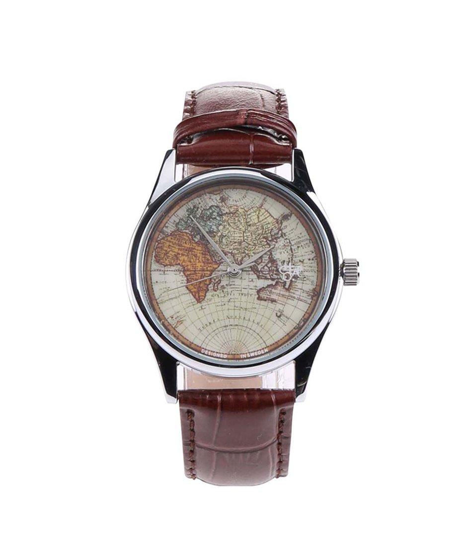 Tmavě hnědé pánské hodinky s mapou a  s koženým páskem Cheapo Vintage World
