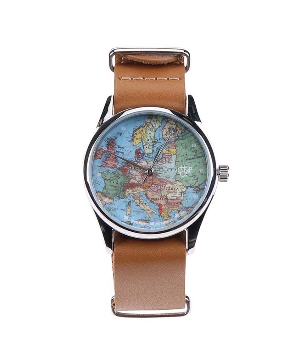 Hnědé unisex hodinky s mapou a s koženým páskem Cheapo Europé