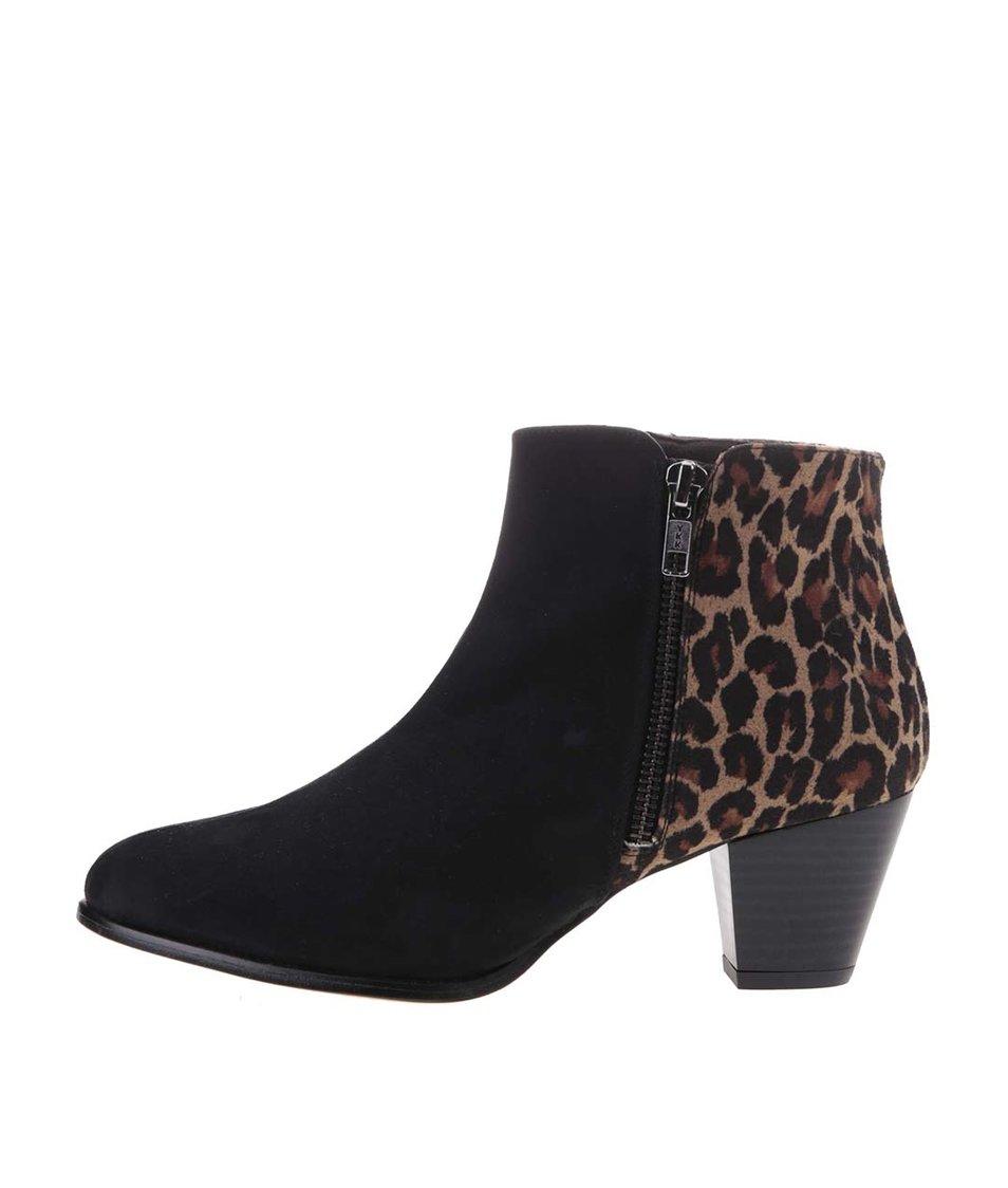 Černé boty s leopardím zadním dílem OJJU