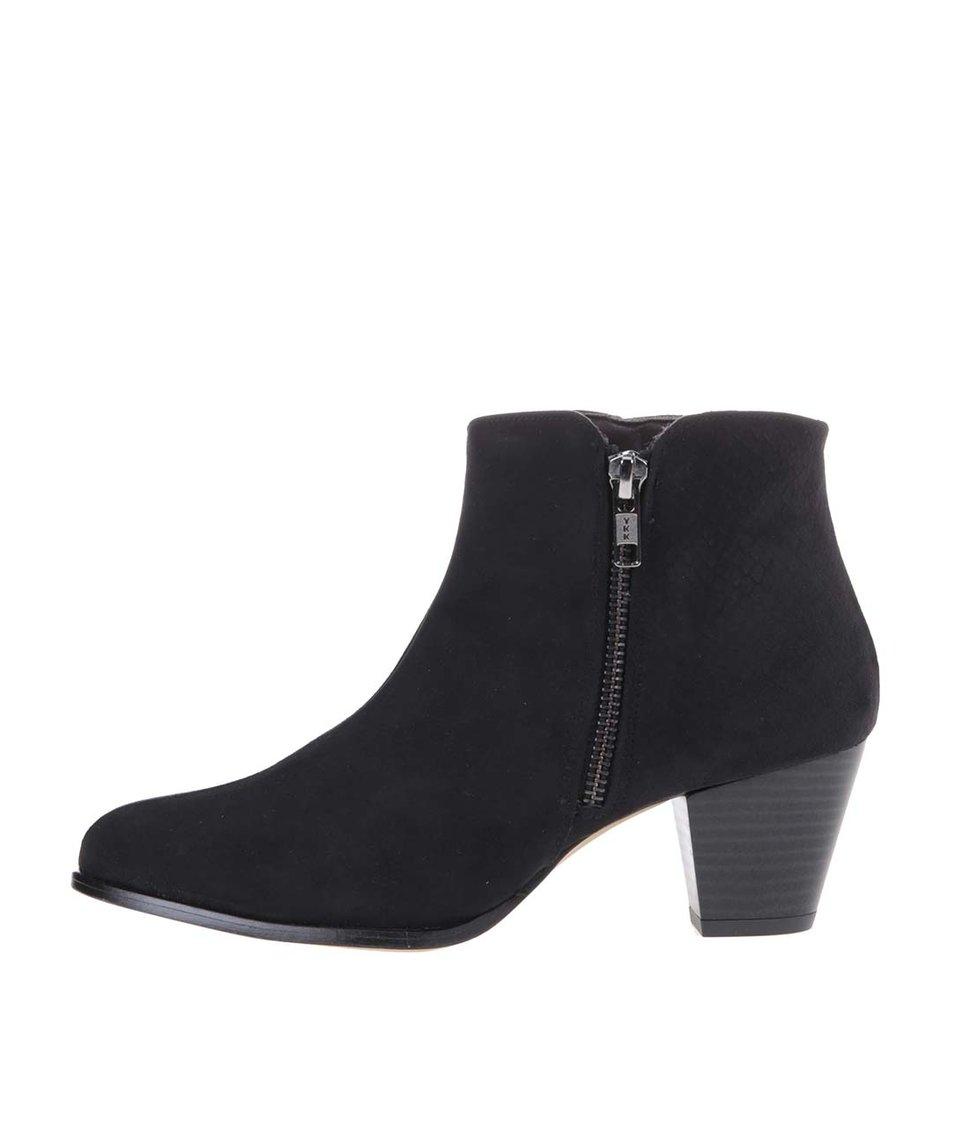 Černé kotníkové boty na podpatku OJJU - Vánoční HIT!  9d492a67eb