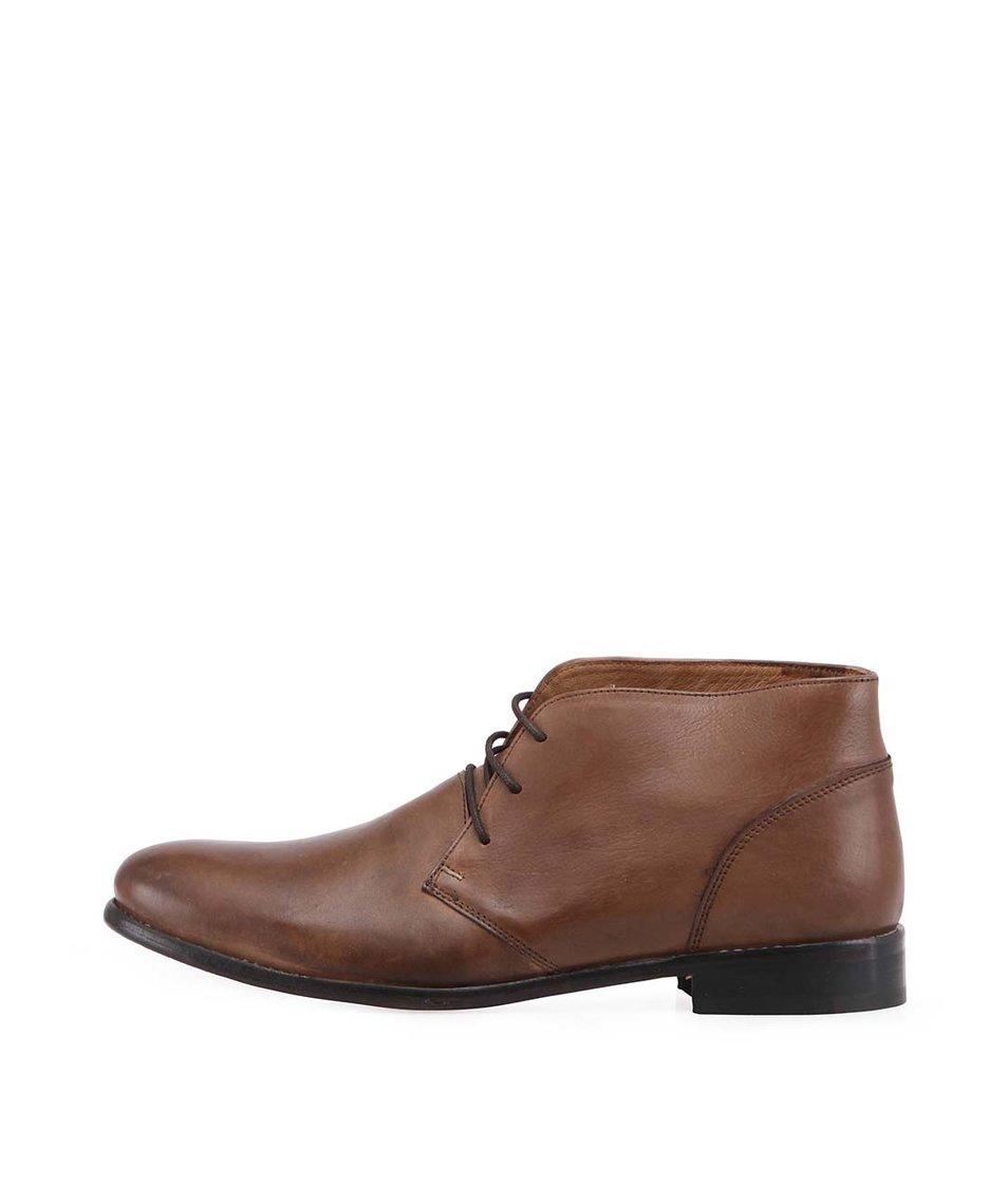 Hnědé kožené boty Frank Wright Fielding