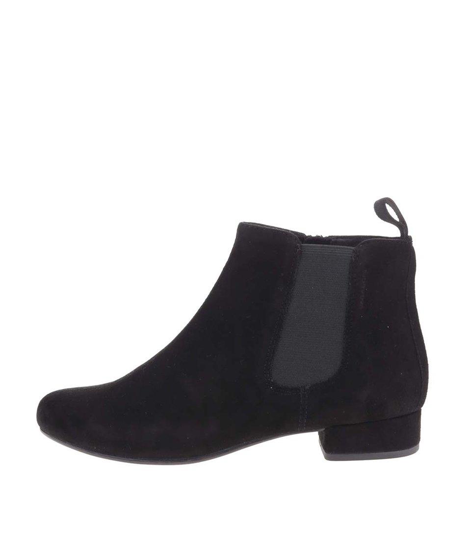 Černé dámské kožené kotníkové boty Vagabond Sue