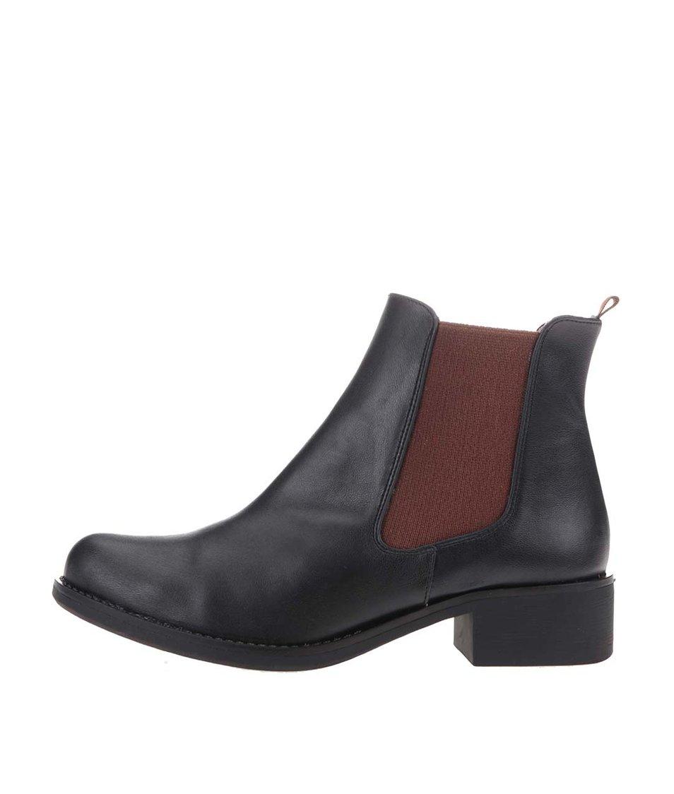 Hnědo-černé kotníkové boty OJJU
