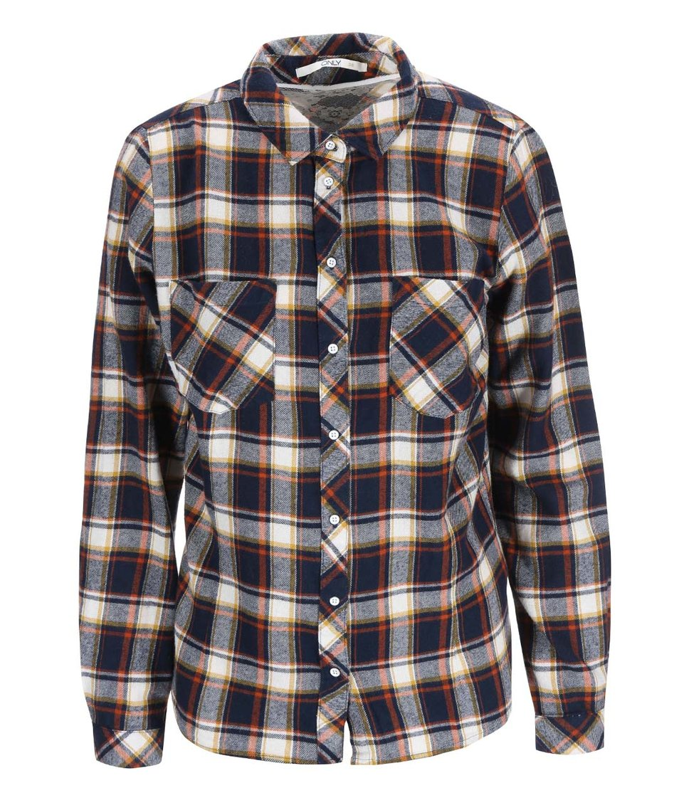 Modrá kostkovaná košile ONLY Dixie