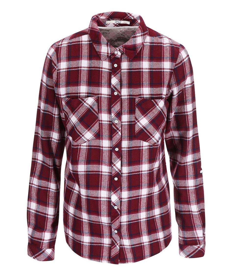 Vínová kostkovaná košile ONLY Dixie