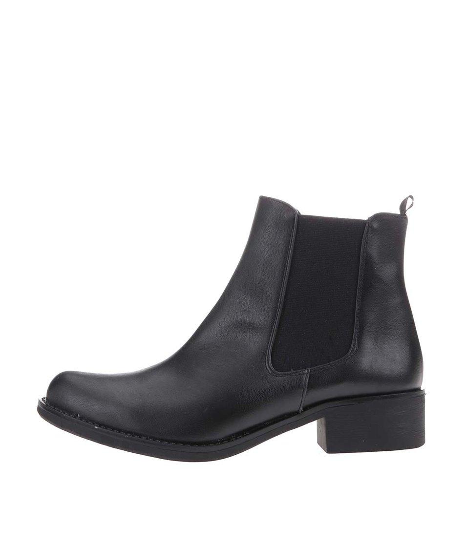 Černé kotníkové chelsea boty OJJU